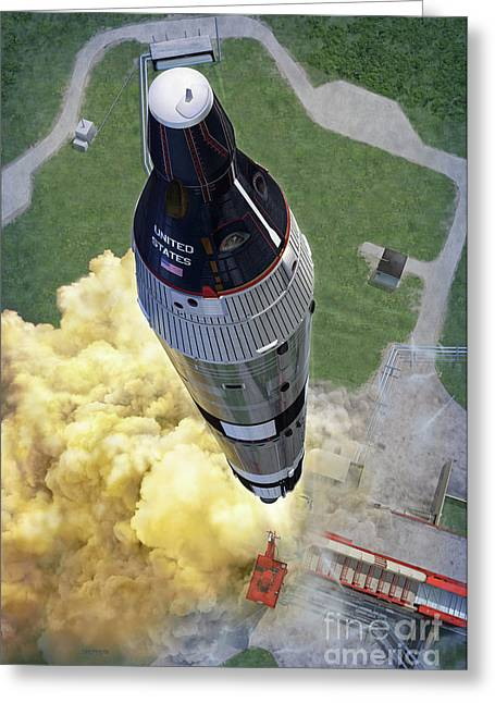 Space Art Greeting Cards - Gemini Titan Launch Greeting Card by Stu Shepherd