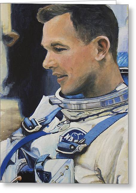 Dave Greeting Cards - Gemini VIII Dave Scott Greeting Card by Simon Kregar