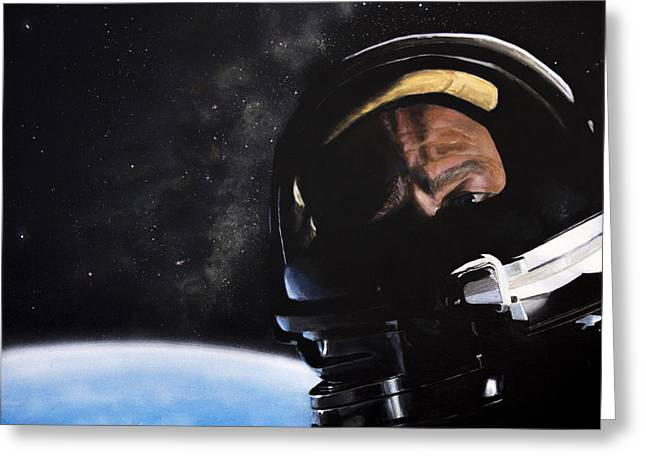 Agnostic Greeting Cards - Gemini XII- Buzz Aldrin Greeting Card by Simon Kregar