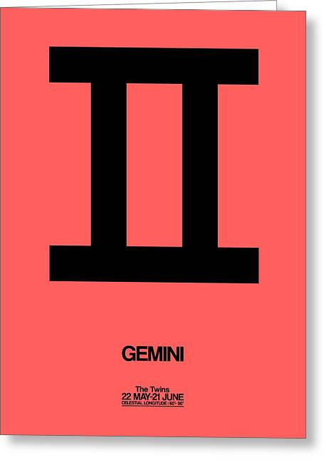 Gemini Zodiac Sign Black Greeting Card by Naxart Studio