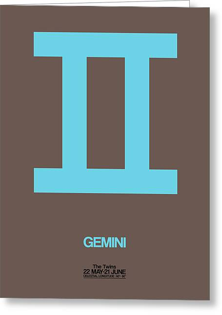 Gemini Zodiac Sign Blue Greeting Card by Naxart Studio