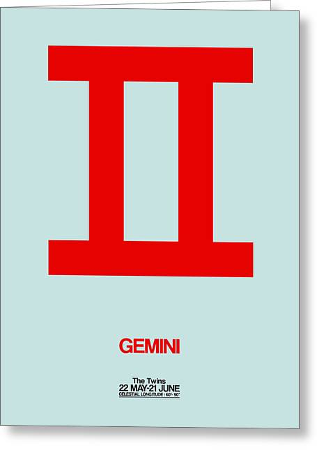 Gemini Zodiac Sign Red Greeting Card by Naxart Studio