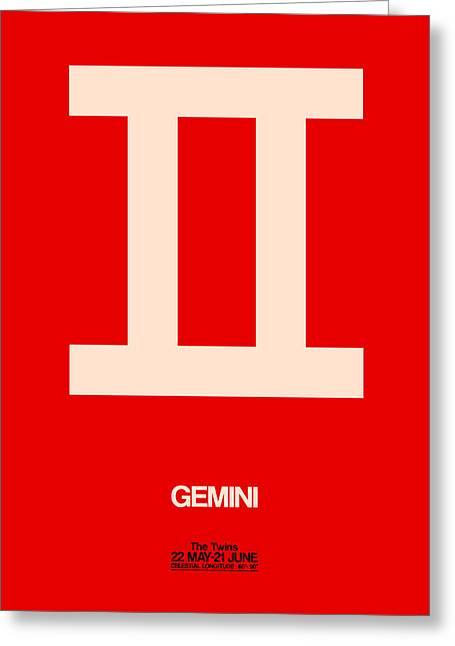 Gemini Zodiac Sign White On Red Greeting Card by Naxart Studio