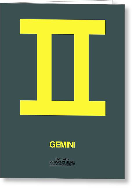 Signed Digital Greeting Cards - Gemini Zodiac Sign Yellow Greeting Card by Naxart Studio