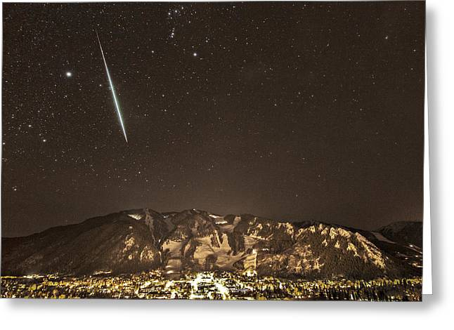Geminids Greeting Cards - Geminid meteor shower Aspen Greeting Card by Tom Cuccio