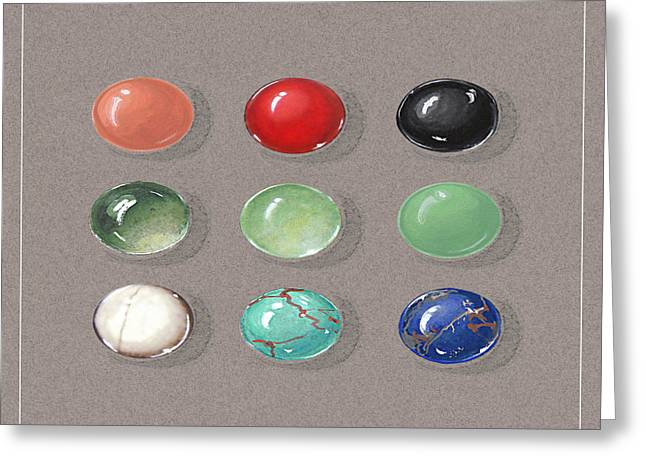 Lit Jewelry Greeting Cards - Gemstone palette Greeting Card by Marie Esther NC