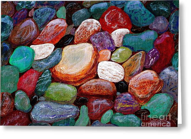 Agate Beach Greeting Cards - Gemstones Greeting Card by Barbara Griffin