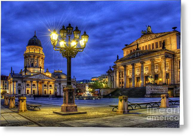 Town Square Greeting Cards - Gendarmenmarkt Berlin at Night Greeting Card by Colin Woods