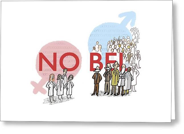 Human Gender Greeting Cards - Genders of Nobel laureates, artwork Greeting Card by Science Photo Library