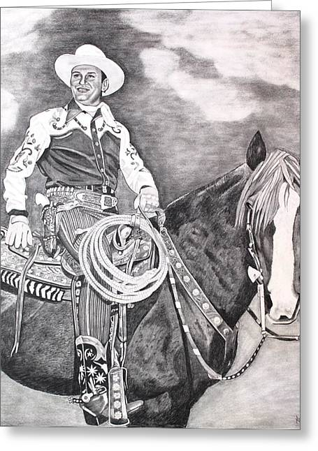Autry Greeting Cards - Gene Autry Greeting Card by Randy Mitchell