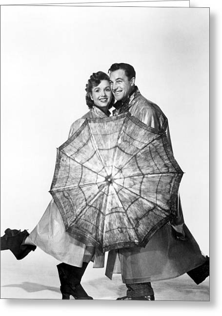 1950s Movies Photographs Greeting Cards - Gene Kelly and Debbie Reynolds Greeting Card by Nomad Art And  Design