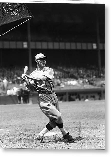 Baseball Bat Greeting Cards - Gene Robertson Greeting Card by Retro Images Archive