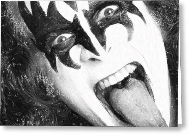 Characters Pastels Greeting Cards - Gene Simmons Greeting Card by Antony McAulay