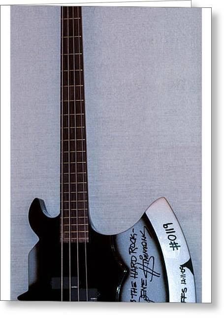 Playing Musical Instruments Greeting Cards - Gene Simmons Hatchet Bass Guitar Greeting Card by Gary Keesler