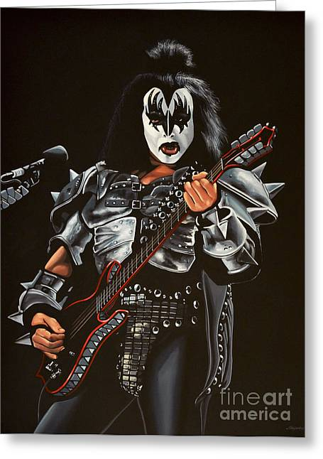 Festival Greeting Cards - Gene Simmons of Kiss Greeting Card by Paul  Meijering
