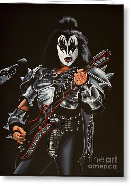 Made Greeting Cards - Gene Simmons of Kiss Greeting Card by Paul Meijering