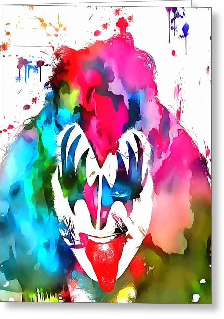 Green And Yellow Mixed Media Greeting Cards - Gene Simmons Paint Splatter Greeting Card by Dan Sproul