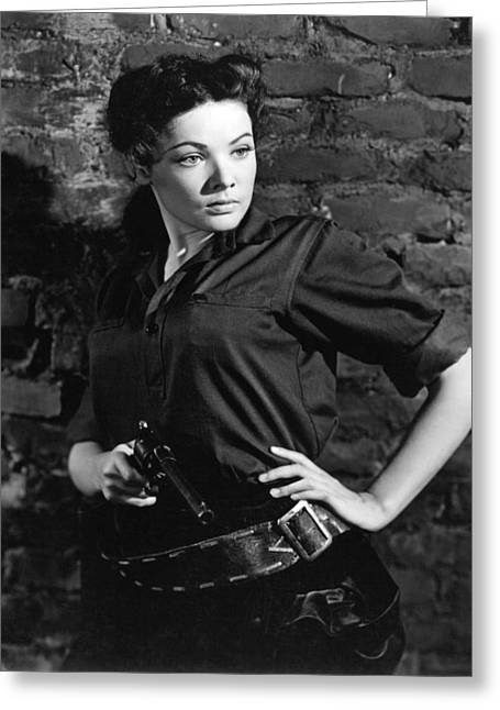 Tierney Greeting Cards - Gene Tierney in Belle Starr  Greeting Card by Silver Screen