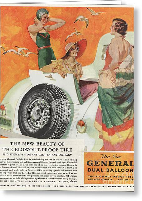 Swimsuits Swimming Costumes Greeting Cards - General 1933 1930s Usa Tyres Womens Greeting Card by The Advertising Archives