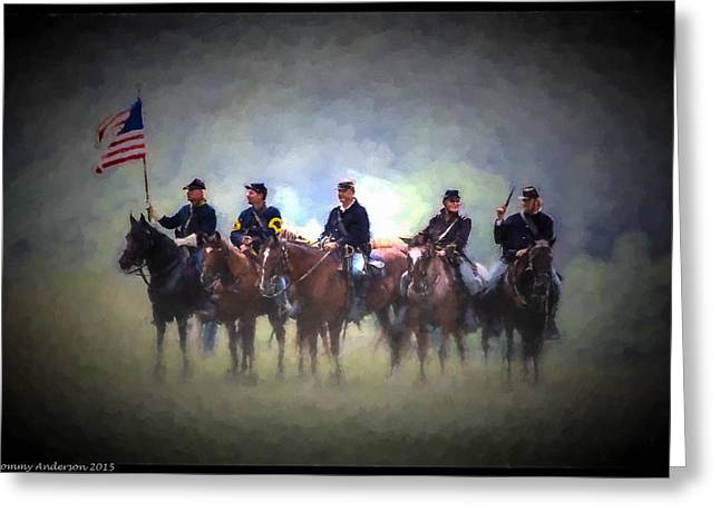 Civil Greeting Cards - General Beaufords Cavalry - Oil Greeting Card by Tommy Anderson