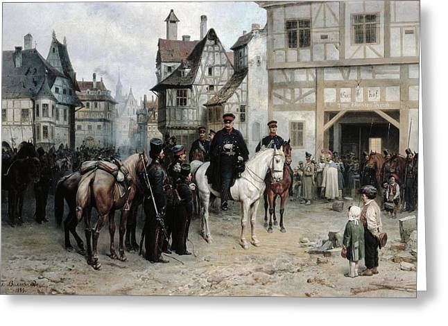 Vernacular Architecture Greeting Cards - General Blucher 1742-1819 With The Cossacks In Bautzen, 1885 Oil On Canvas Greeting Card by Bogdan Willewalde