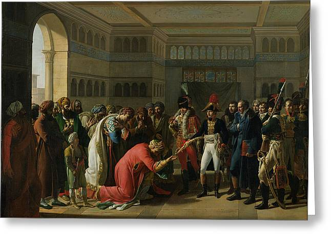 Knelt Photographs Greeting Cards - General Bonaparte Giving A Sword To The Military Chief Of Alexandria, July 1798, 1808 Oil On Canvas Greeting Card by Francois Henri Mulard