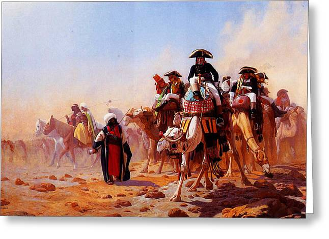 Kilburne Greeting Cards - General Bonaparte With His Military Staff In Egypt 1863 Greeting Card by MotionAge Designs