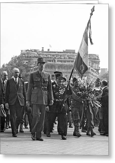 General Charles De Gaulle Greeting Card by Underwood Archives