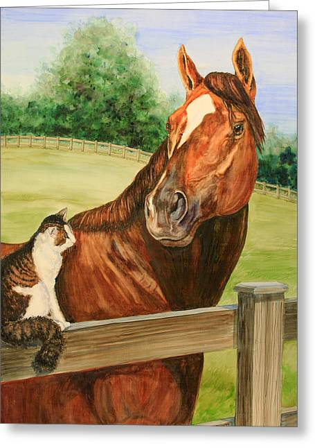 Keeneland Paintings Greeting Cards - General Charlie and Whirlaway the Cat Portrait Greeting Card by Kristine Plum