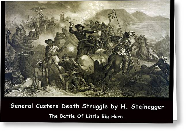 Last Stand Greeting Cards - General Custers Death Struggle Greeting Card by H Steinegger