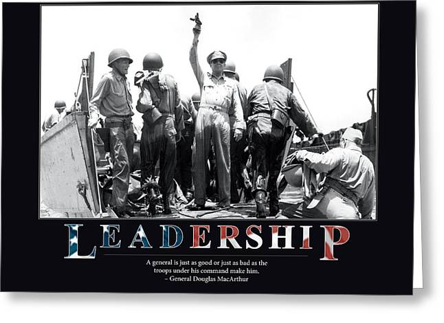 Colored Troops Greeting Cards - General Douglas MacArthur Leadership Greeting Card by Retro Images Archive