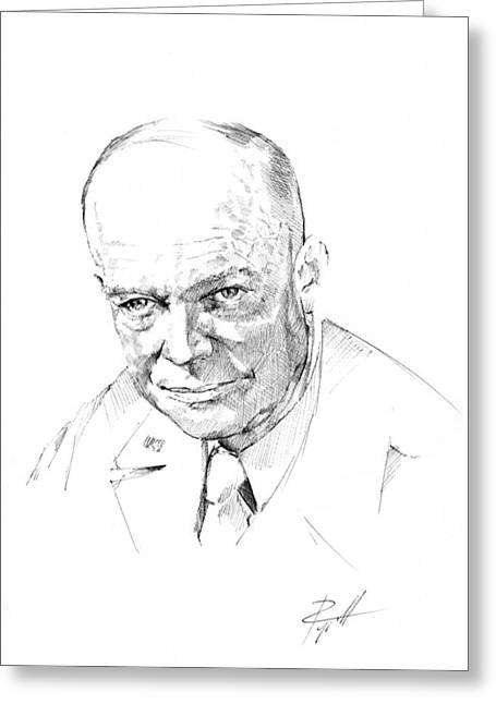 General Dwight D Eisenhower Greeting Cards - General Dwight D Eisenhower Greeting Card by  Gerald Piggott