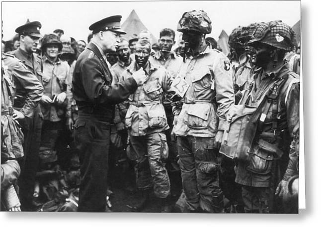 General Dwight D Eisenhower Greeting Cards - General Eisenhower Encouraging Troops Prior to D-Day Invasion Greeting Card by Mountain Dreams