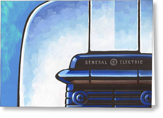 Toaster Paintings Greeting Cards - General Electric Toaster - blue Greeting Card by Larry Hunter