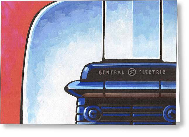 Toaster Paintings Greeting Cards - General Electric Toaster - red Greeting Card by Larry Hunter