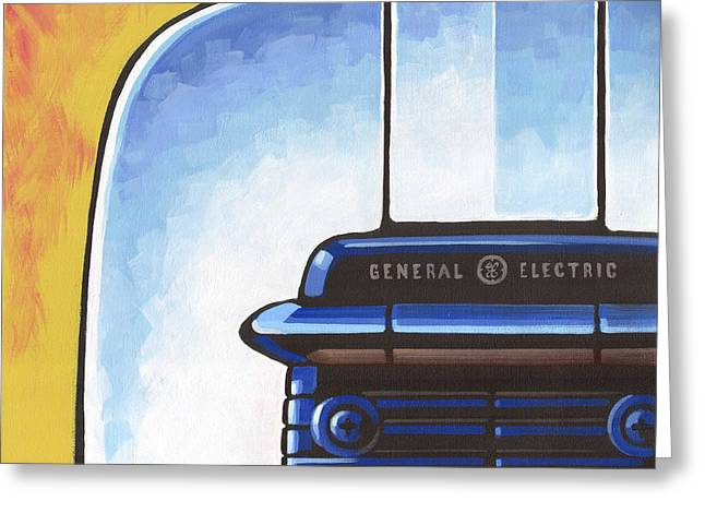 Toaster Paintings Greeting Cards - General Electric Toaster - yellow Greeting Card by Larry Hunter