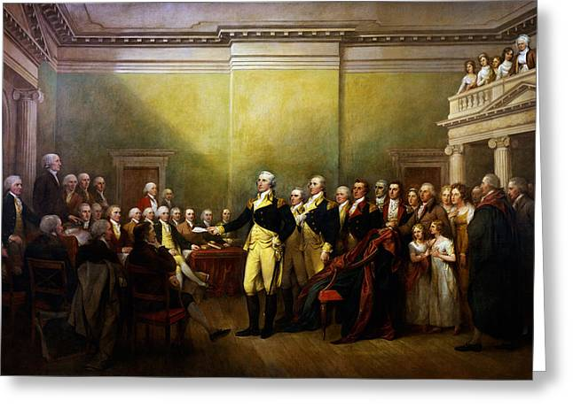 Resigned Greeting Cards - General George Washington Resigning His Commission Greeting Card by Celestial Images