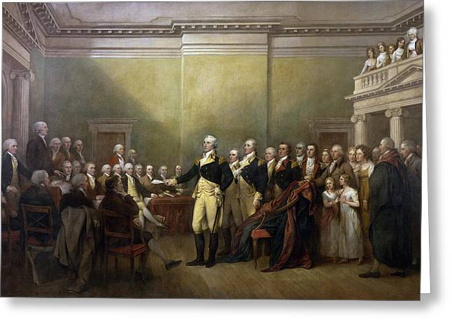 Penn Digital Art Greeting Cards - General George Washington Resigning His Commission Greeting Card by John Trumbull