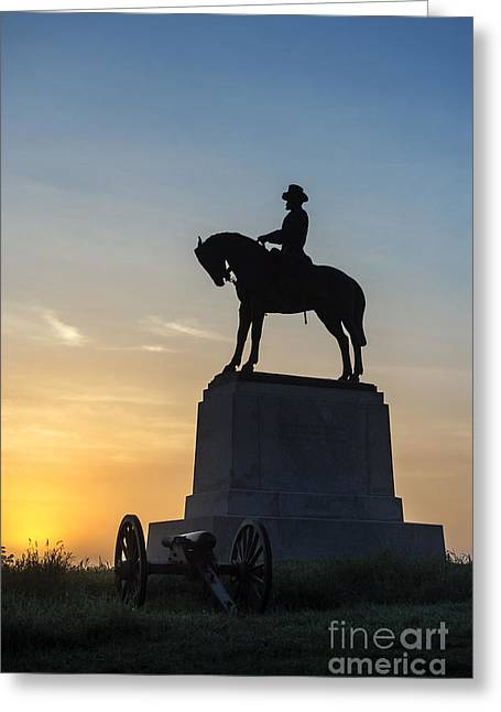 Confederate Monument Greeting Cards - General Howard Monument at Cemetery Hill Greeting Card by John Greim