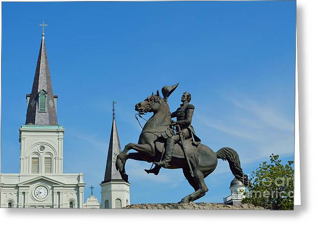French Quarter Greeting Cards - General Jackson Statue Greeting Card by Alys Caviness-Gober