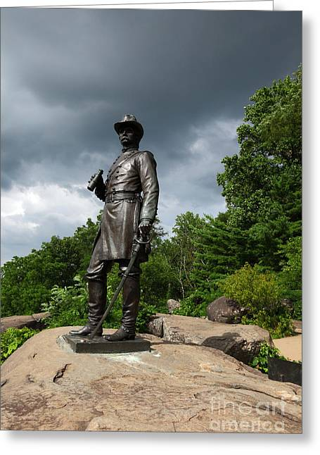 Civil War Battle Site Greeting Cards - General K Warren Monument Gettysburg Greeting Card by James Brunker