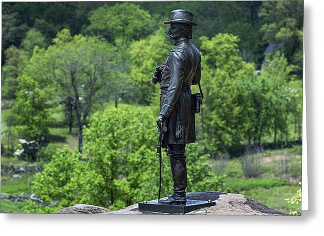 General Kemble Warren at Little Round Top Greeting Card by John Greim