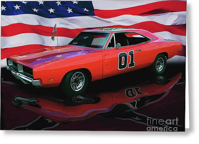 Chrome Greeting Cards - General Lee Greeting Card by Peter Piatt