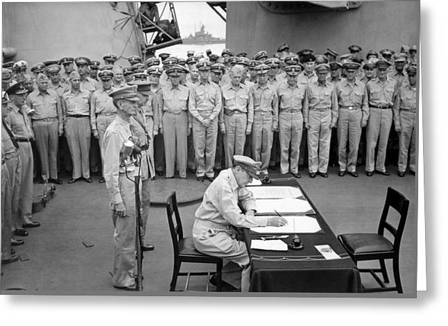 World War Two Photographs Greeting Cards - General MacArthur Signing The Japanese Surrender Greeting Card by War Is Hell Store