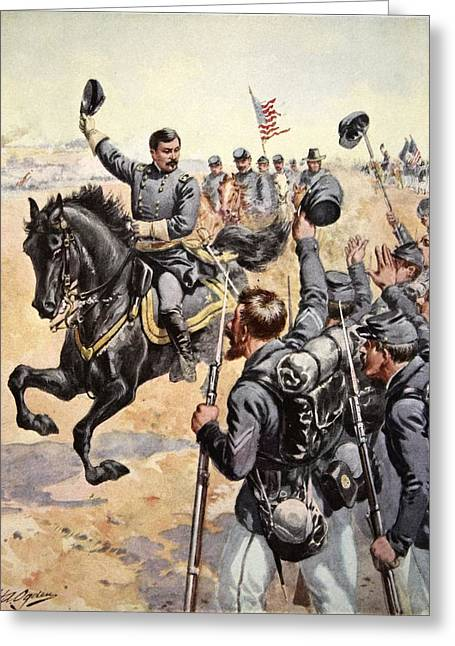 Bayonet Greeting Cards - General Mcclellan At The Battle Greeting Card by Henry Alexander Ogden