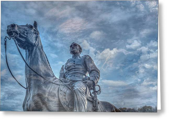 Stone Sentinel Greeting Cards - General  Meade Statue at Gettysburg Battlefield Greeting Card by Randy Steele