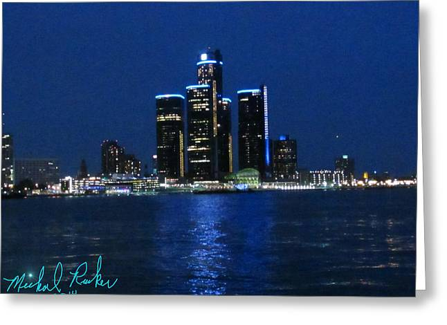Renaissance Center Paintings Greeting Cards - General Motors Headquarters Greeting Card by Michael Rucker