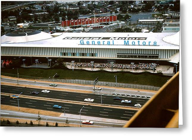 Recently Sold -  - Roadway Greeting Cards - General Motors pavilion at the 1964 Worlds Fair Greeting Card by Kevin Snider