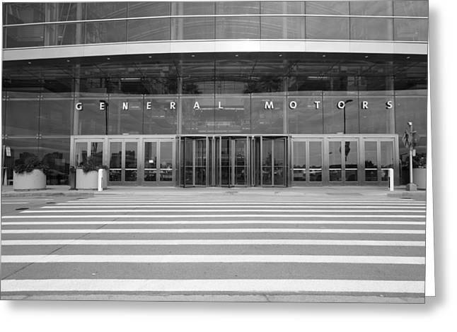 Renaissance Center Greeting Cards - General Motors Renaissance Center Entrance  Greeting Card by John McGraw