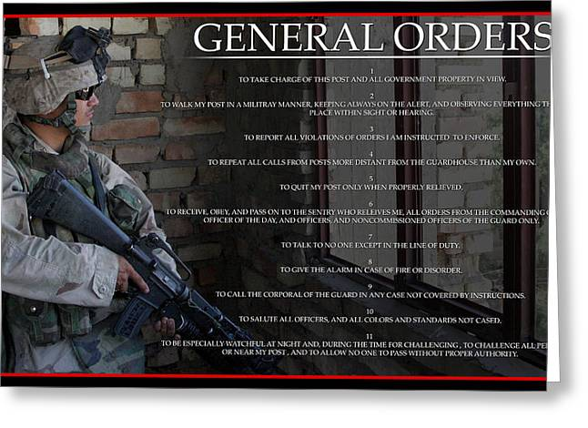Iraq Posters Greeting Cards - General Orders Greeting Card by Annette Redman